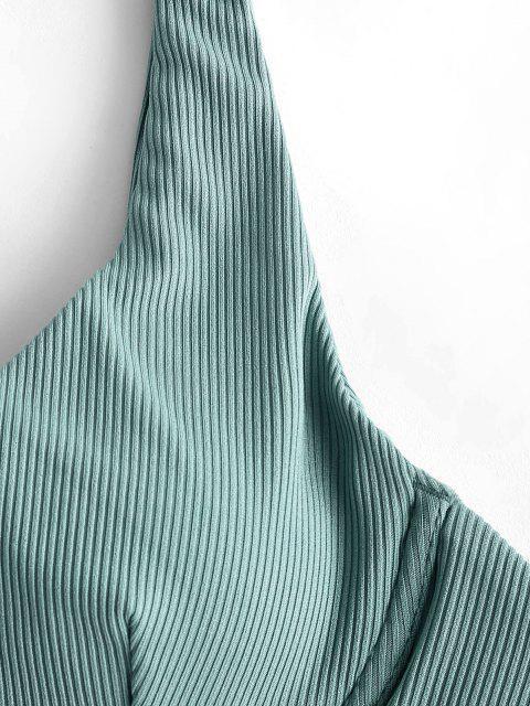Costume da Bagno Bikini Annodato a Costine a Monospalla con Ferretto di ZAFUL - Verde chiaro S Mobile