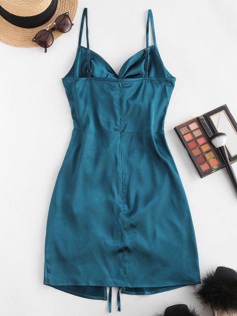 새틴 트위스트 컷 아웃 Conched Slit Bodycon Dress. - 진한 파랑 에스 Mobile