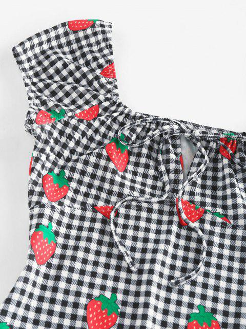 hot ZAFUL Gingham Strawberry Tied Fitted Dress - BLACK L Mobile