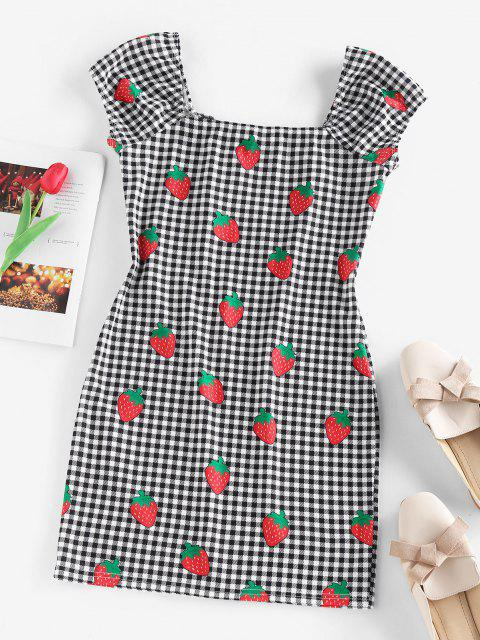best ZAFUL Gingham Strawberry Tied Fitted Dress - BLACK M Mobile