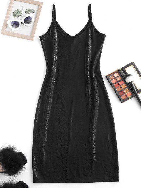 ladies Metallic Cami Bodycon Dress - BLACK M Mobile