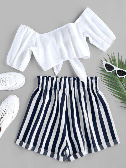 lady ZAFUL Tied Crop Top and Stripe Paperbag Shorts Set - DEEP BLUE S Mobile