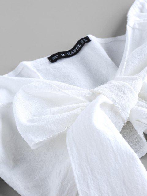 online ZAFUL Tied Crop Top and Stripe Paperbag Shorts Set - DEEP BLUE M Mobile