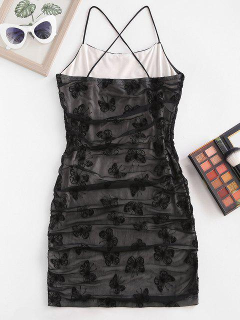 Flocking Butterfly Mesh Ruched Cami Bodycon Dress - أسود XS Mobile
