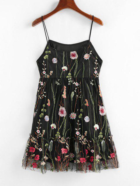 trendy ZAFUL Mesh Flounce Floral Embroidered Cami Dress - BLACK L Mobile