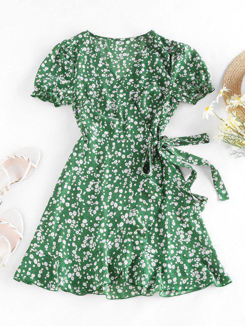 lady ZAFUL Ditsy Print Puff Sleeve Ruffle Belted Dress - GREEN L Mobile