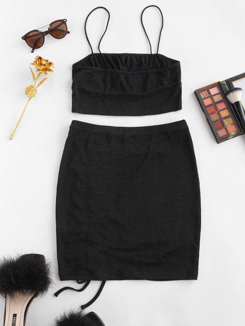 fancy Cinched Bungee Strap Bodycon Skirt Set - BLACK L Mobile