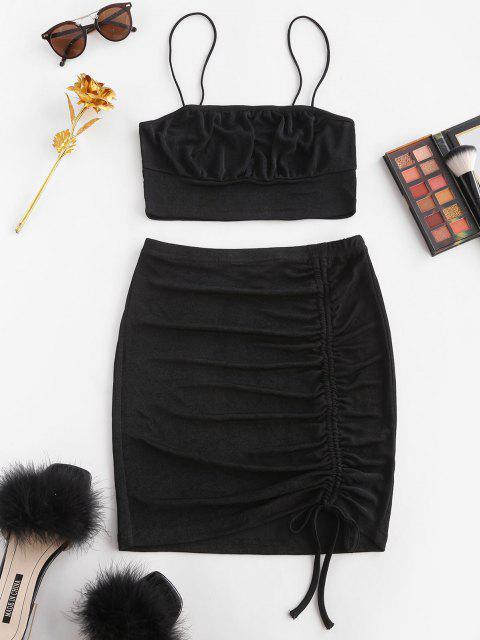 affordable Cinched Bungee Strap Bodycon Skirt Set - BLACK XS Mobile