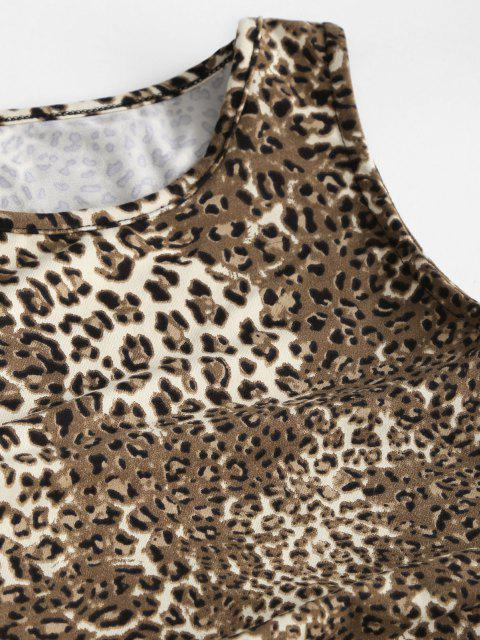 trendy Leopard Cinched Tie Fitted Tank Dress - COFFEE S Mobile