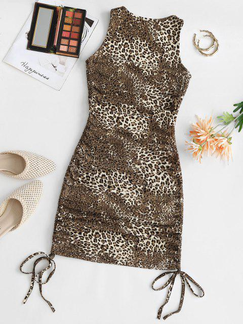 Leopard Taille Krawatte Tank Kleid - Kaffee M Mobile