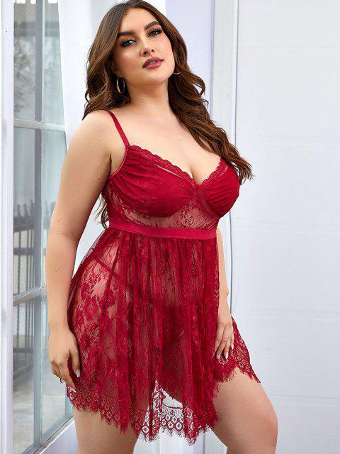 fancy Plus Size Lace Bustier Babydoll Set - DEEP RED 2XL Mobile