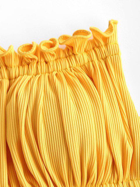 trendy ZAFUL Ribbed Paisley Bandeau Ruffle Tie Side Three Piece Bikini Swimwear - YELLOW M Mobile