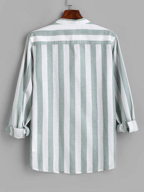 womens Color Blocking Stripes Half Button Shirt - GREEN 3XL Mobile
