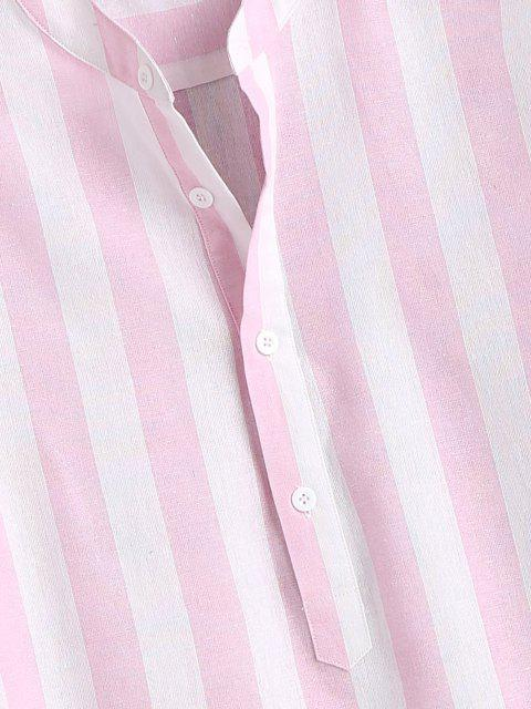 women's Color Blocking Stripes Half Button Shirt - LIGHT PINK L Mobile