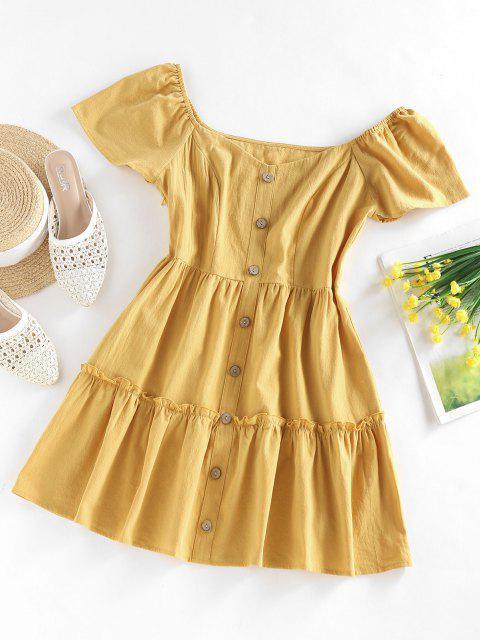 ZAFUL Frilled Mock Button A Line Summer Dress - اصفر غامق M Mobile