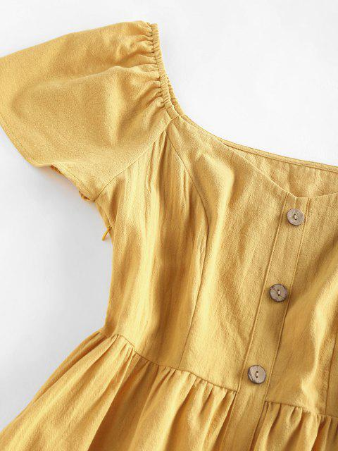 latest ZAFUL Frilled Mock Button A Line Summer Dress - DEEP YELLOW M Mobile
