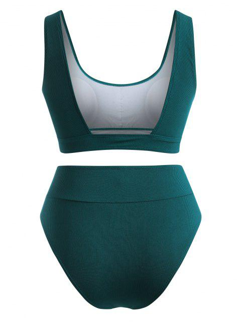 ZAFUL Maillot de Bain Bikini Côtelé à Coupe Haute de Grande Taille - Vert profond XXL Mobile