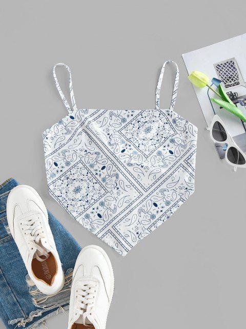 buy ZAFUL Bohemian Paisley Cami Tie Back Crop Bandana Top - WHITE XL Mobile