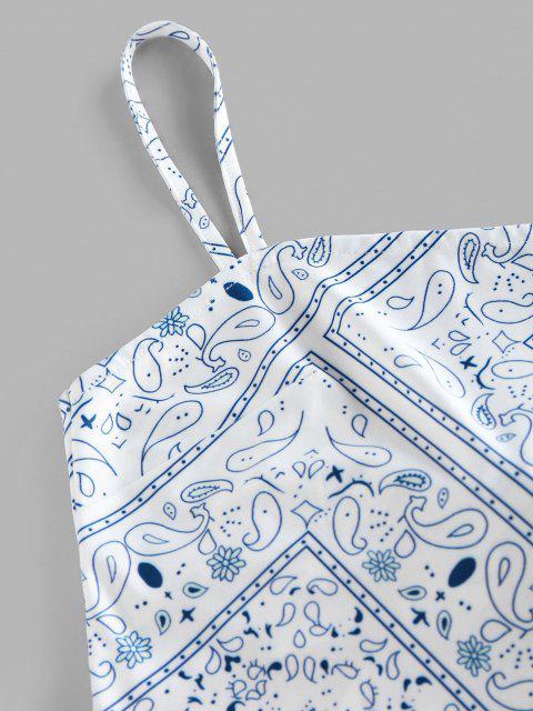 ZAFUL Haut Court à Bretelle Noué Au Dos Cachemire Imprimé Style Bohémien - Blanc L Mobile