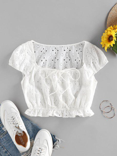 shop ZAFUL Broderie Anglaise Ruffle Bowknot Crop Blouse - WHITE M Mobile