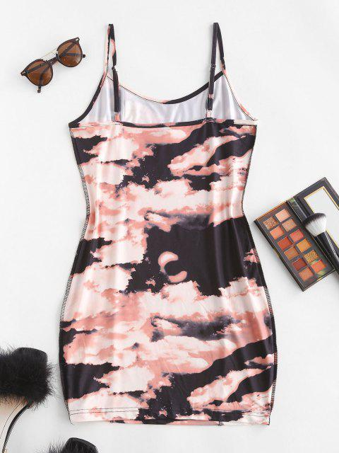 hot Tie Dye Topstitching Mini Bodycon Dress - DEEP COFFEE S Mobile