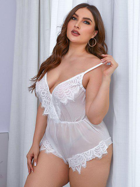 outfits Plus Size Semi-sheer Lace Panel Teddy - WHITE 4XL Mobile