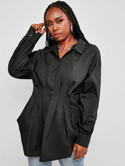 Plus Size Pleated Waist Drop Shoulder Longline Shirt - Black L