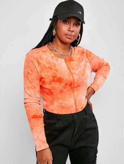 Plus Size Tie Dye Ribbed Double Way Zip T Shirt - Dark Orange 2xl