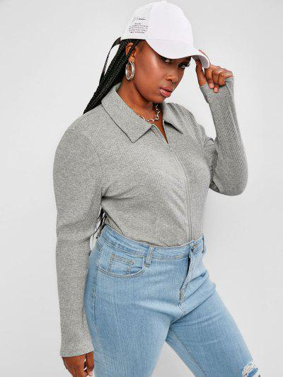 Plus Size Ribbed Double Way Zip Crop T Shirt - Light Gray 1xl