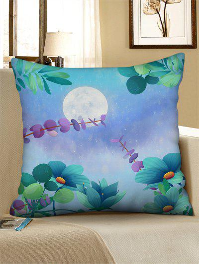 Moon Flower Printed Linen Square Pillowcase - Medium Turquoise W18 X L18 Inch