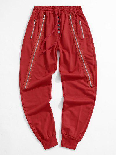 Button Zipper Embellished Jogger Sweatpants - Red L