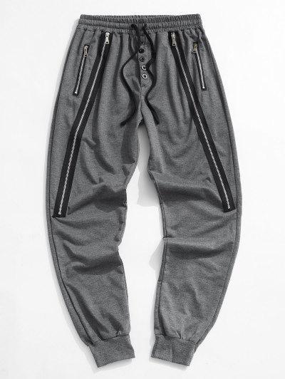 Button Zipper Embellished Jogger Sweatpants - Dark Gray 2xl