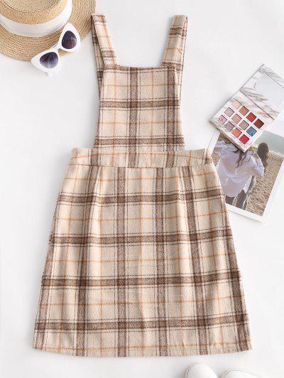 Plaid Wool Blend Pinafore Dress - Light Coffee M