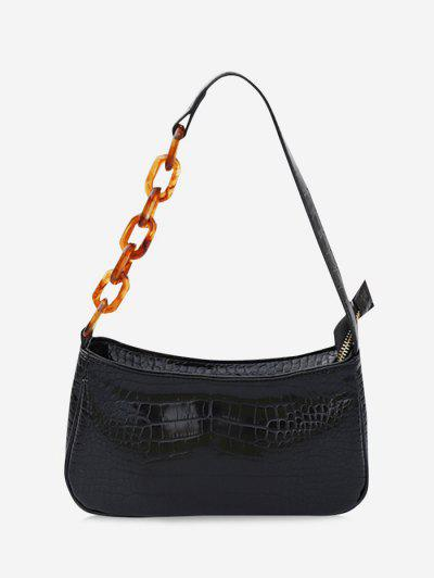 Chain Splice Strap Shoulder Bag - Black