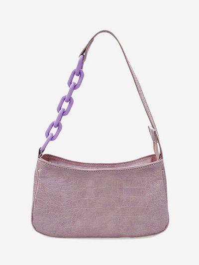 Chain Splice Strap Shoulder Bag - Viola Purple