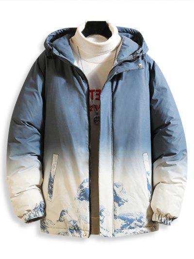 Giacca Imbottita Con Cappuccio E Stampa Sfumata E Montagna Di Neve - Azzurro L