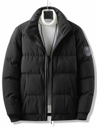 Letter Tiger Badge Patch Padded Jacket - Black Xs