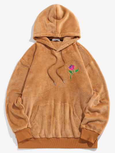ZAFUL Rose Embroidery Fleece Hoodie