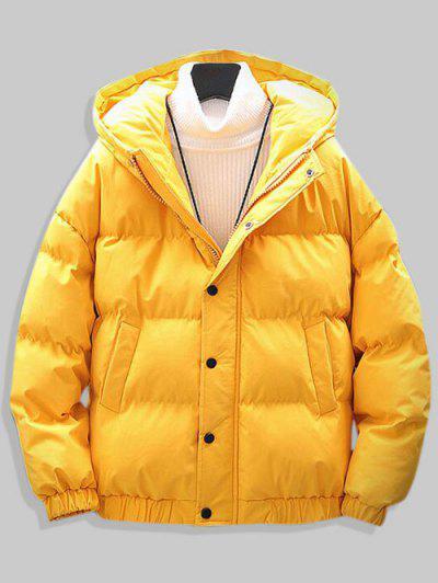 Plain Drop Shoulder Hooded Padded Jacket - Yellow M