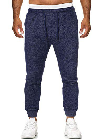 Drawstring Heathered Sports Pants - Deep Blue S