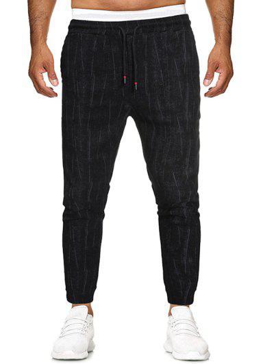 Stripes Print Applique Detail Casual Pants - Black L
