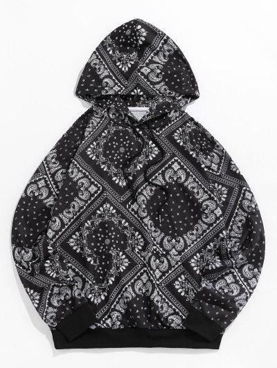 ZAFUL Paisleydruck Känguru Taschen Hoodie - Schwarz S