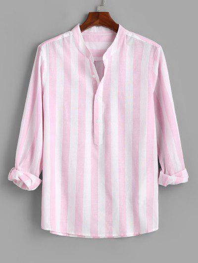 Color Blocking Stripes Half Button Shirt - Light Pink M