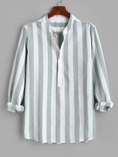 Color Blocking Stripes Half Button Shirt - Green M