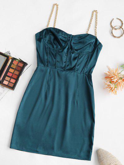 Vestido Busto Con Cadena De Corsé De Satén - Azul Profundo M