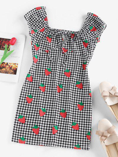 ZAFUL Gingham Strawberry Tied Fitted Dress - Black M
