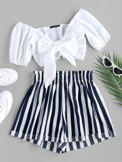 ZAFUL Tied Crop Top And Stripe Paperbag Shorts Set - Deep Blue M