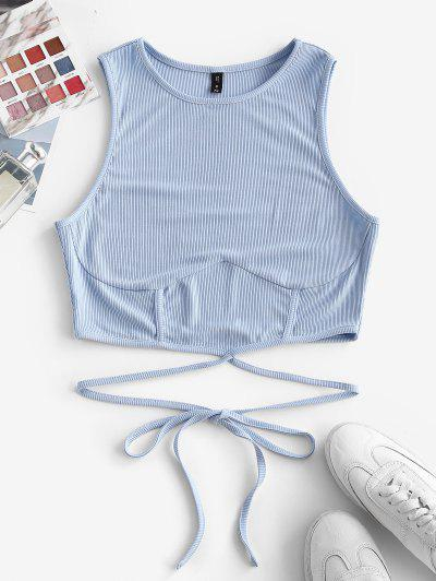 ZAFUL Ribbed Strap Tie Racerback Crop Tank Top - Light Blue S