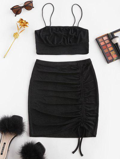 Cinched Bungee Strap Bodycon Skirt Set - Black Xs