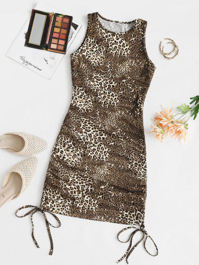 Leopard Cinched Tie Fitted Tank Dress - Coffee M
